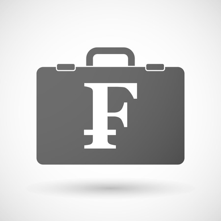 franc: Illustration of an isolated briefcase icon with a swiss franc sign