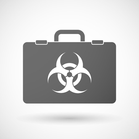 hazard: Illustration of an isolated briefcase icon with a biohazard sign Illustration