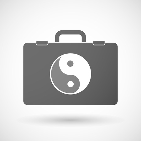 taoism: Illustration of an isolated briefcase icon with a ying yang Illustration