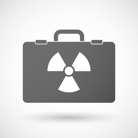radiation suit: Illustration of an isolated briefcase icon with a radio activity sign