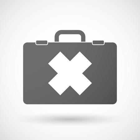 alerting: Illustration of an isolated briefcase icon with an irritating substance sign Illustration
