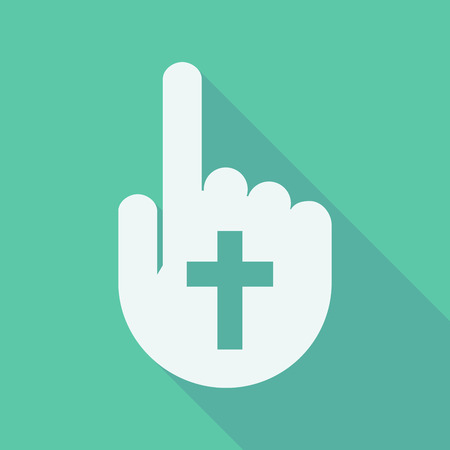 finger touch: Illustration of a long shadow pointing finger hand with a christian cross Illustration