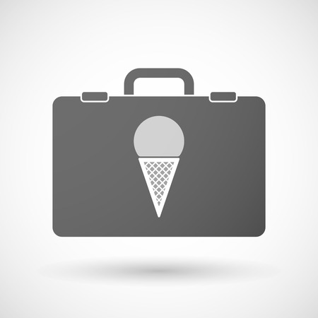 cold storage: Illustration of an isolated briefcase icon with a cone ice cream Illustration