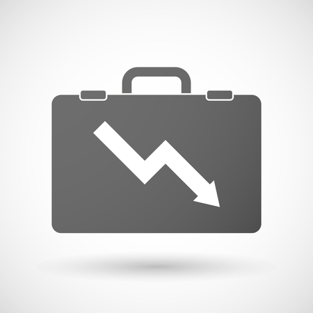 descending: Illustration of an isolated briefcase icon with a descending graph