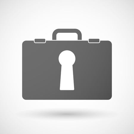 key hole: Illustration of an isolated briefcase icon with a key hole Illustration