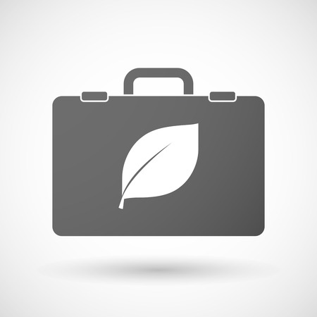 environmental suit: Illustration of an isolated briefcase icon with a leaf