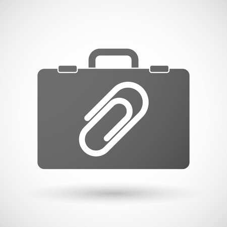 case binder: Illustration of an isolated briefcase icon with a clip