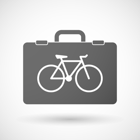 cycle suit: Illustration of an isolated briefcase icon with a bicycle Illustration