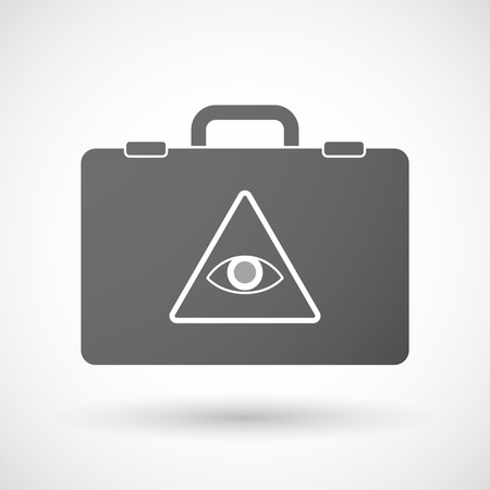 all seeing eye: Illustration of an isolated briefcase icon with an all seeing eye