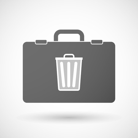 corporate waste: Illustration of an isolated briefcase icon with a trash can