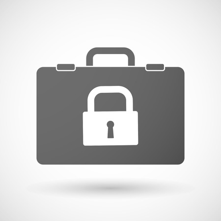 Illustration of an isolated briefcase icon with a closed lock pad
