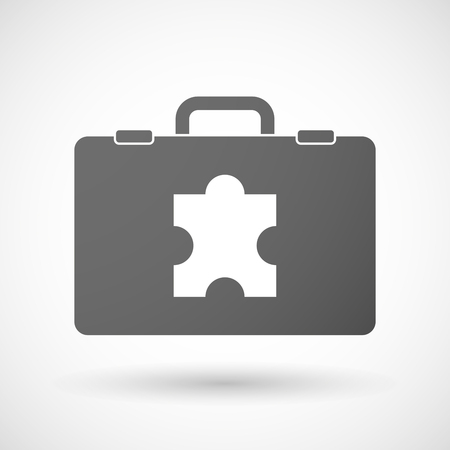 Illustration of an isolated briefcase icon with a puzzle piece