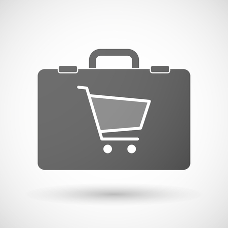 trolley case: Illustration of an isolated briefcase icon with a shopping cart Illustration