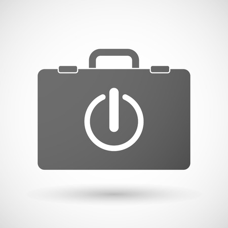 on off button: Illustration of an isolated briefcase icon with an off button