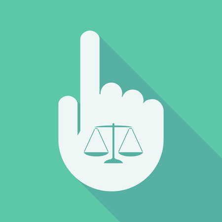 tribunal: Illustration of a long shadow pointing finger hand with a justice weight scale sign