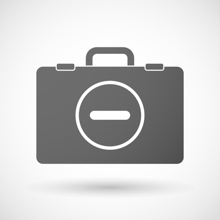 resta: Illustration of an isolated briefcase icon with a subtraction sign
