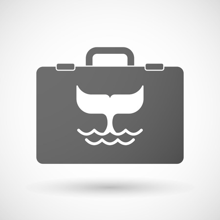 the tail: Illustration of an isolated briefcase icon with a whale tail