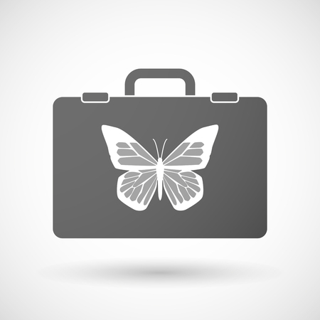 butterfly isolated: Illustration of an isolated briefcase icon with a butterfly