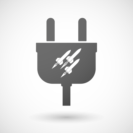 nuclear weapons: Illustration of an isolated plug icon with missiles