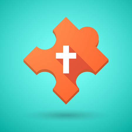cross match: Illustration of an isolated long shadow puzzle icon with a christian cross