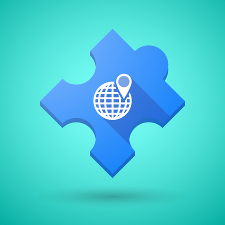 puzzle globe: Illustration of an isolated long shadow puzzle icon with a world globe