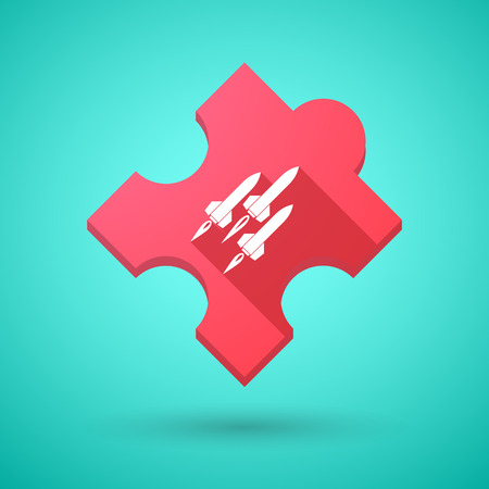 missiles: Illustration of an isolated long shadow puzzle icon with missiles