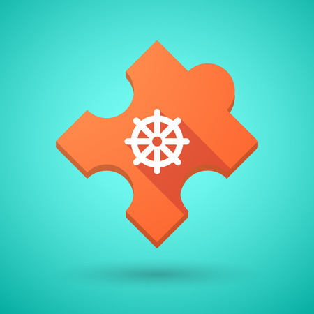 dharma: Illustration of an isolated long shadow puzzle icon with a dharma chakra sign