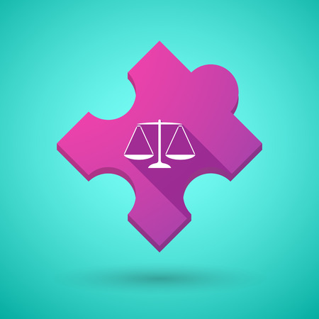 tribunal: Illustration of an isolated long shadow puzzle icon with a justice weight scale sign