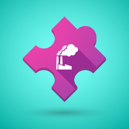 puzzle shadow: Illustration of an isolated long shadow puzzle icon with a factory