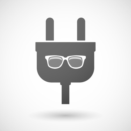 eye sockets: Illustration of an isolated plug icon with a glasses
