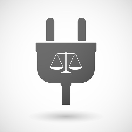 tribunal: Illustration of an isolated plug icon with a justice weight scale sign