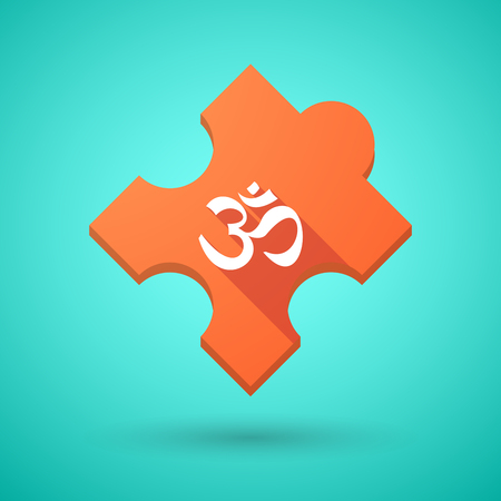 zen aum: Illustration of an isolated long shadow puzzle icon with an om sign