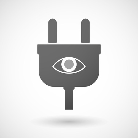 eye sockets: Illustration of an isolated plug icon with an eye