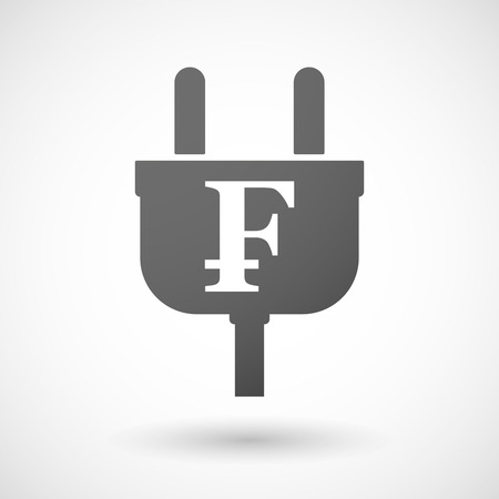 franc: Illustration of an isolated plug icon with a swiss franc sign