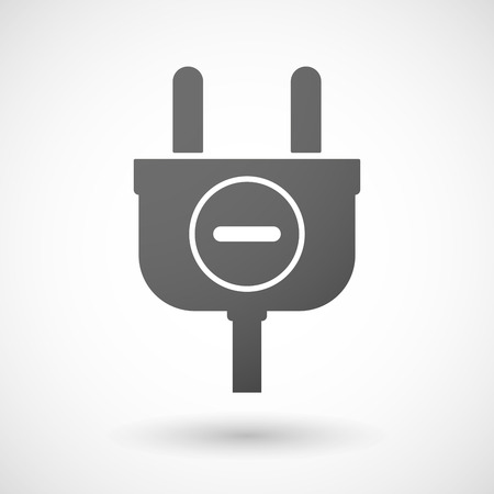 subtraction: Illustration of an isolated plug icon with a subtraction sign Illustration