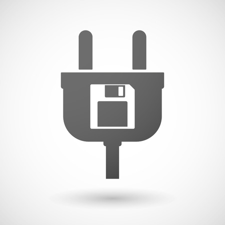 computer socket: Illustration of an isolated plug icon with a floppy disk