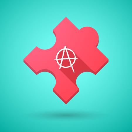 anarchist: Illustration of an isolated long shadow puzzle icon with an anarchy sign