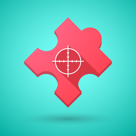 cross match: Illustration of an isolated long shadow puzzle icon with a crosshair Illustration