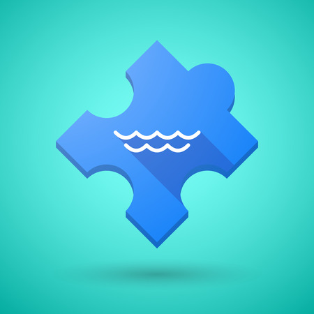 puzzle shadow: Illustration of an isolated long shadow puzzle icon with a water sign