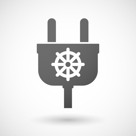 dharma: Illustration of an isolated plug icon with a dharma chakra sign Illustration