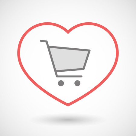 seduction: Illustration of a line heart icon with a shopping cart