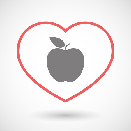 seduction: Illustration of a line heart icon with an apple