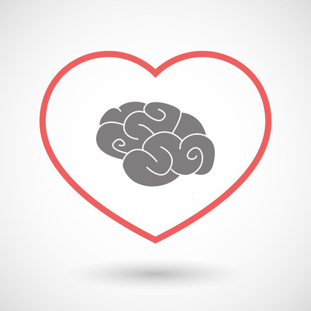 seduction: Illustration of a line heart icon with a brain