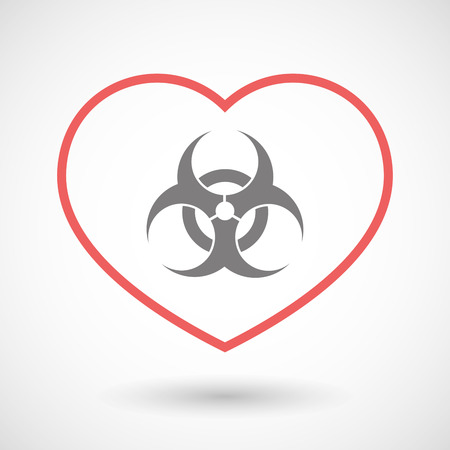 seduction: Illustration of a line heart icon with a biohazard sign