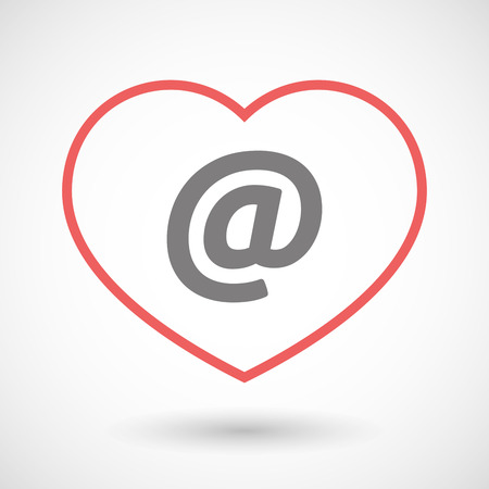 seduce: Illustration of a line heart icon with an at sign