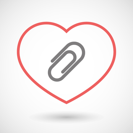 office romance: Illustration of a line heart icon with a clip Illustration