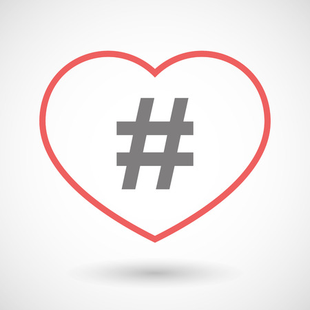 seduction: Illustration of a line heart icon with a hash tag