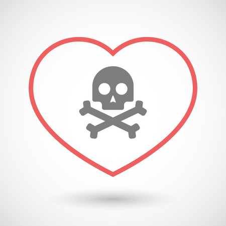 health threat: Illustration of a line heart icon with a skull