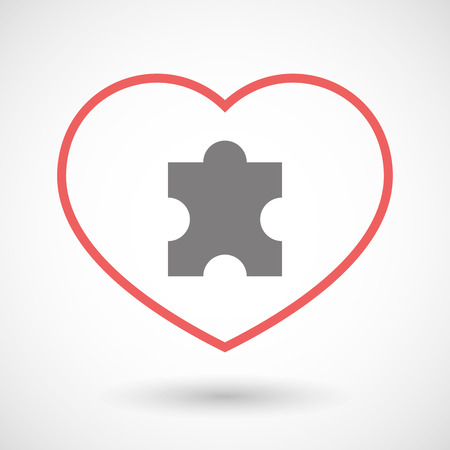 puzzle heart: Illustration of a line heart icon with a puzzle piece