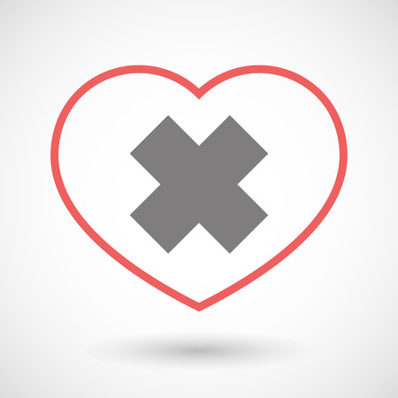 alerting: Illustration of a line heart icon with an irritating substance sign